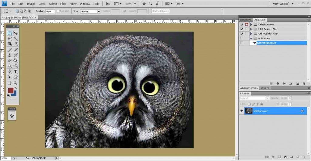 пример экшена в Photoshop