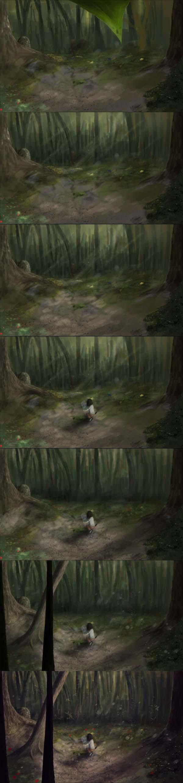 процесс рисования in woodland