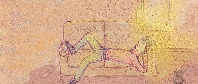 отдыхает