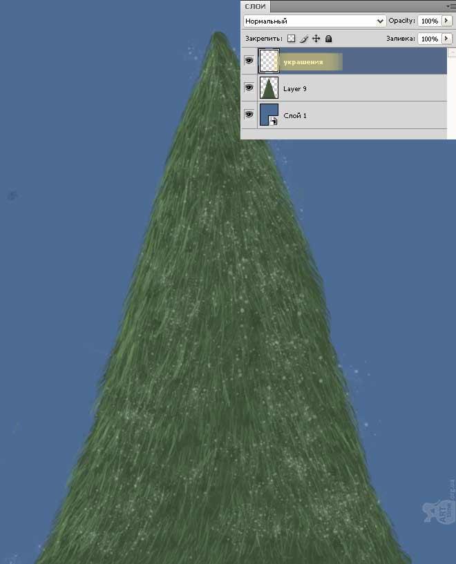 снег на елке
