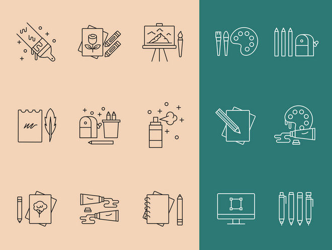 Векторные иконки инструментов художника