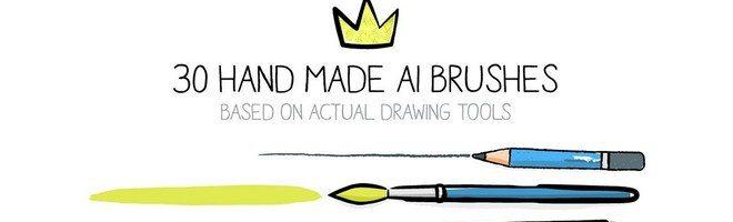 30 нарисованных от руки кистей для Adobe Illustrator
