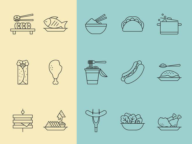 Иконки ресторанной еды