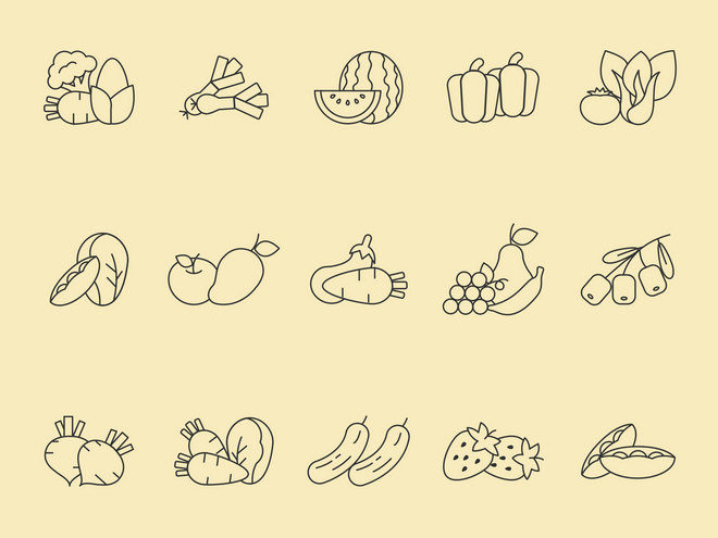 Векторные иконки: овощи и фрукты