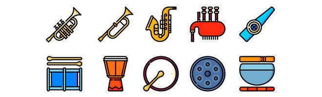 Веторные иконки музыкальных инструментов