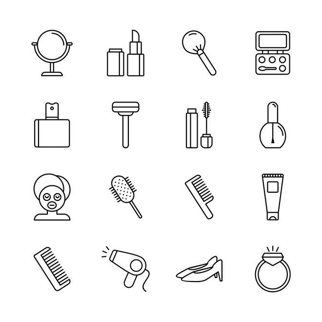Векторные иконки на тему красоты