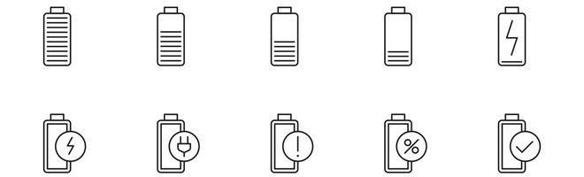 Векторные иконки зарядки аккумуляторов