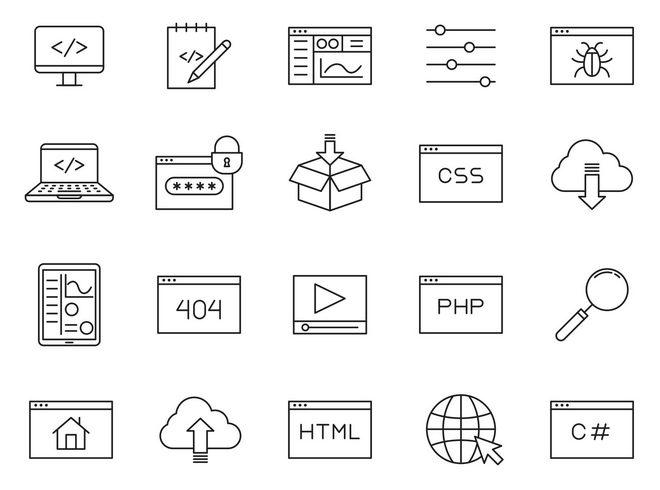 20 векторных иконок для программиста