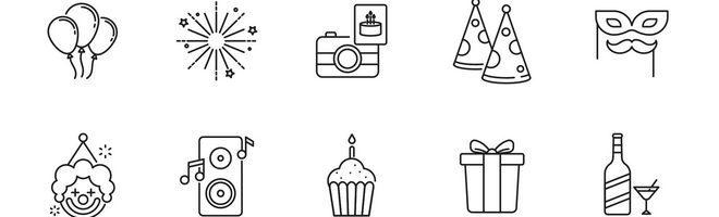 80 векторных иконок на тему вечеринки