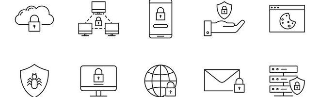 20 векторных иконок защиты данных