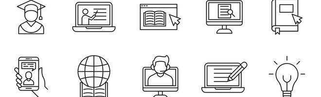 20 векторных иконок онлайн-обучения