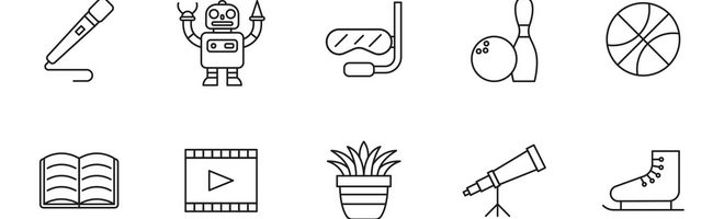 20 векторных иконок на тему хобби