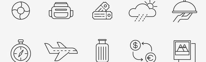 20 векторных иконок на тему путешествий