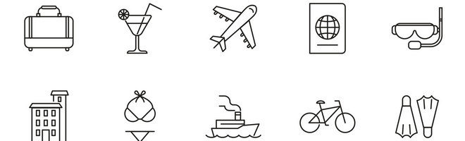 20 векторных иконок отпускной тематики