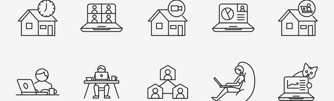 Векторные иконки на тему работы из дома