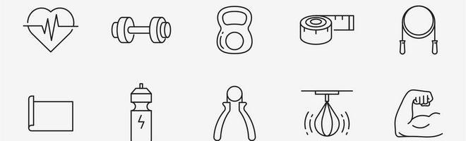 Векторные иконки на тему фитнеса