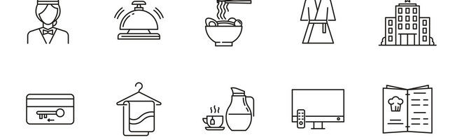Векторные иконки гостиничной тематики