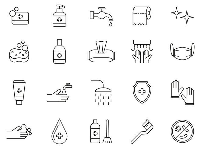 20 векторных иконок гигиенической тематики